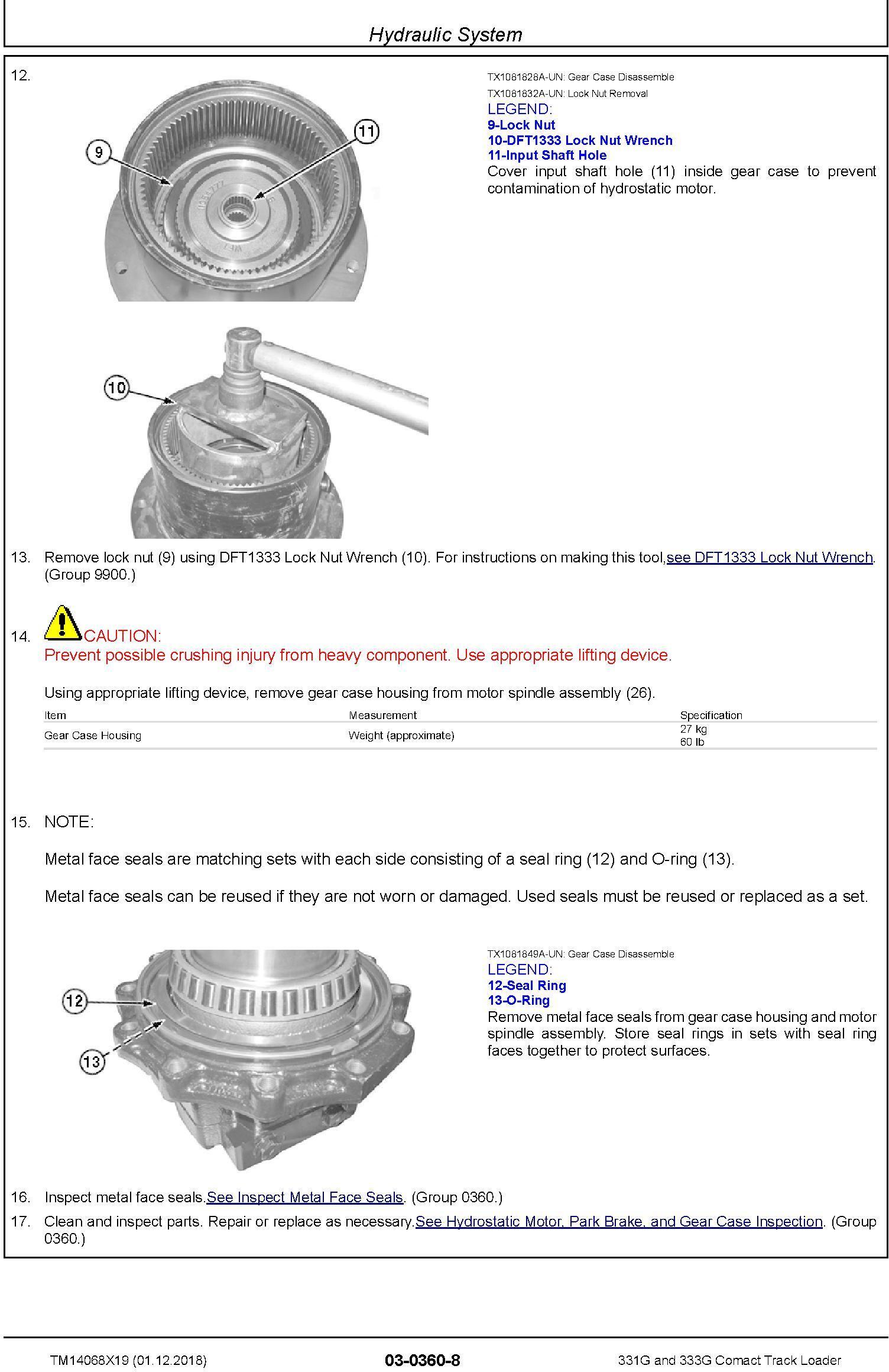 John Deere 331G and 333G Comact Track Loader Repair Service Manual (TM14068X19) - 1