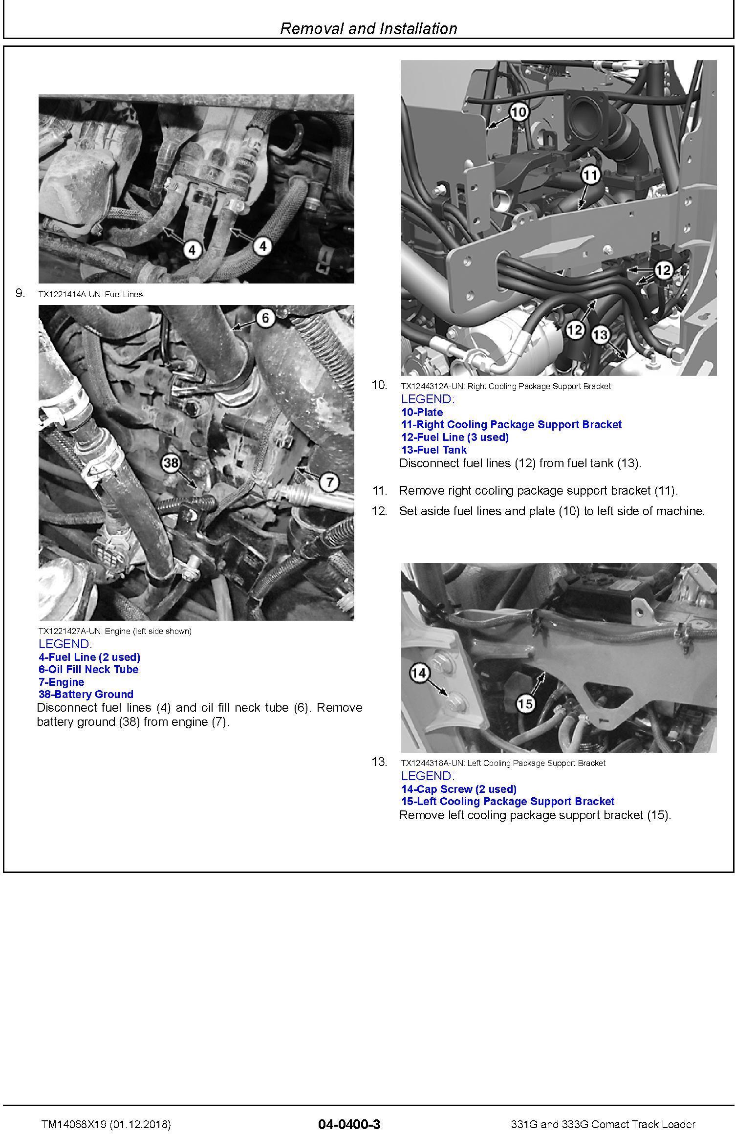 John Deere 331G and 333G Comact Track Loader Repair Service Manual (TM14068X19) - 2