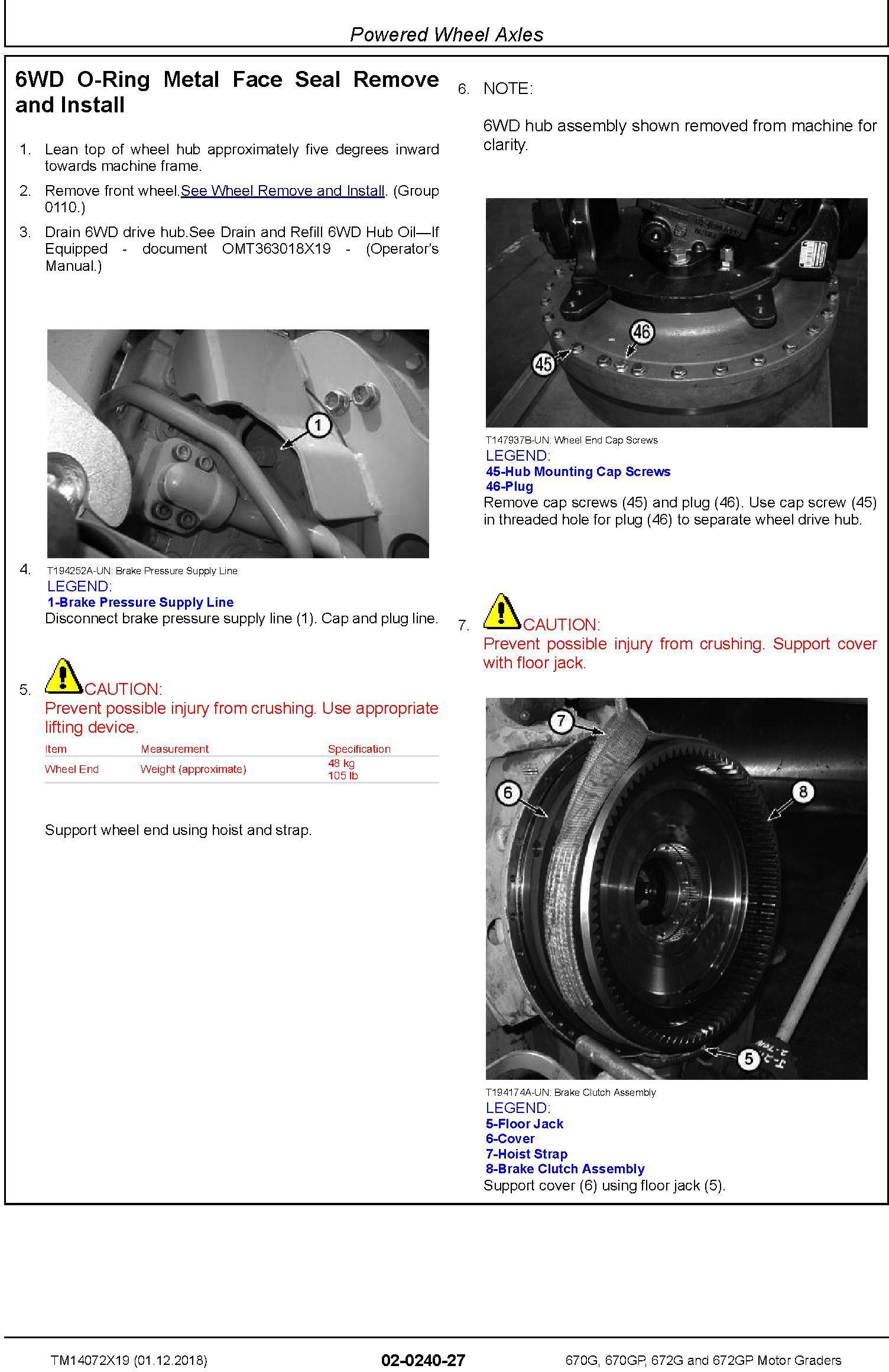 John Deere 670G, 670GP, 672G, 672GP (SN.F678818-680877) Motor Graders Repair Manual (TM14072X19) - 3
