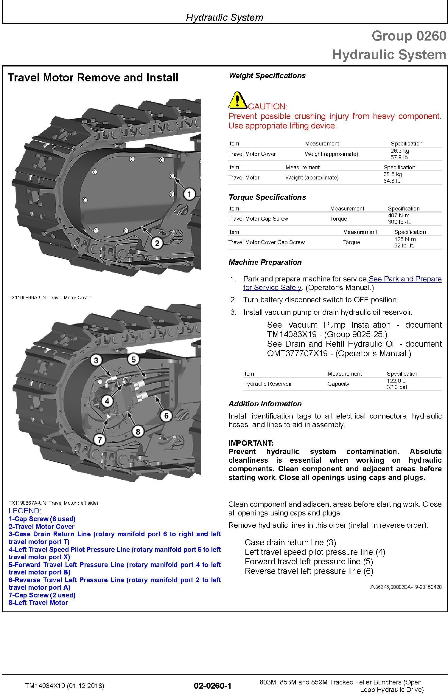 John Deere 803M,853M,859M (SN.F293917-,L343918-) Feller Buncher (Open-Loop) Repair Manual TM14084X19 - 1