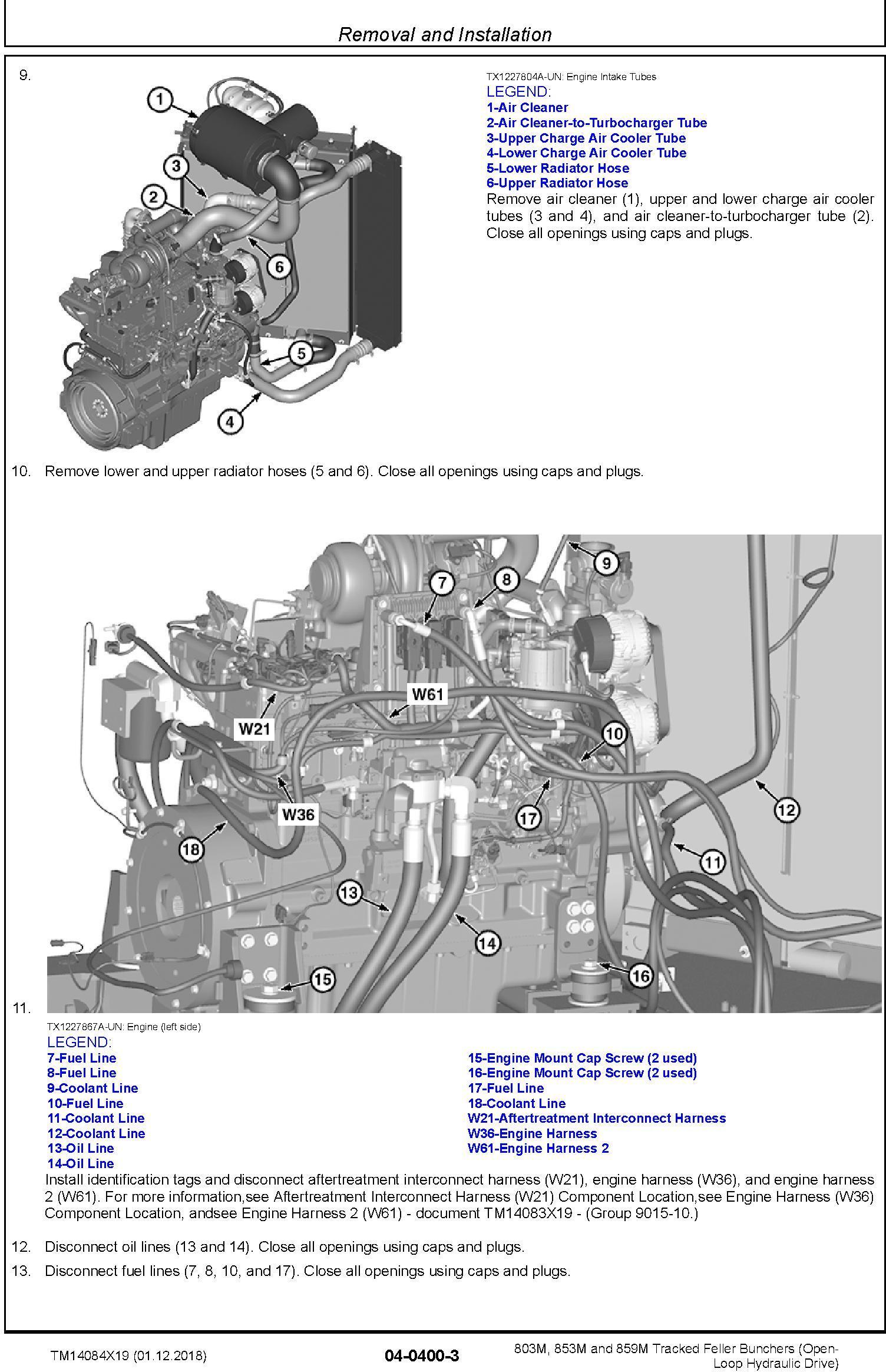 John Deere 803M,853M,859M (SN.F293917-,L343918-) Feller Buncher (Open-Loop) Repair Manual TM14084X19 - 2