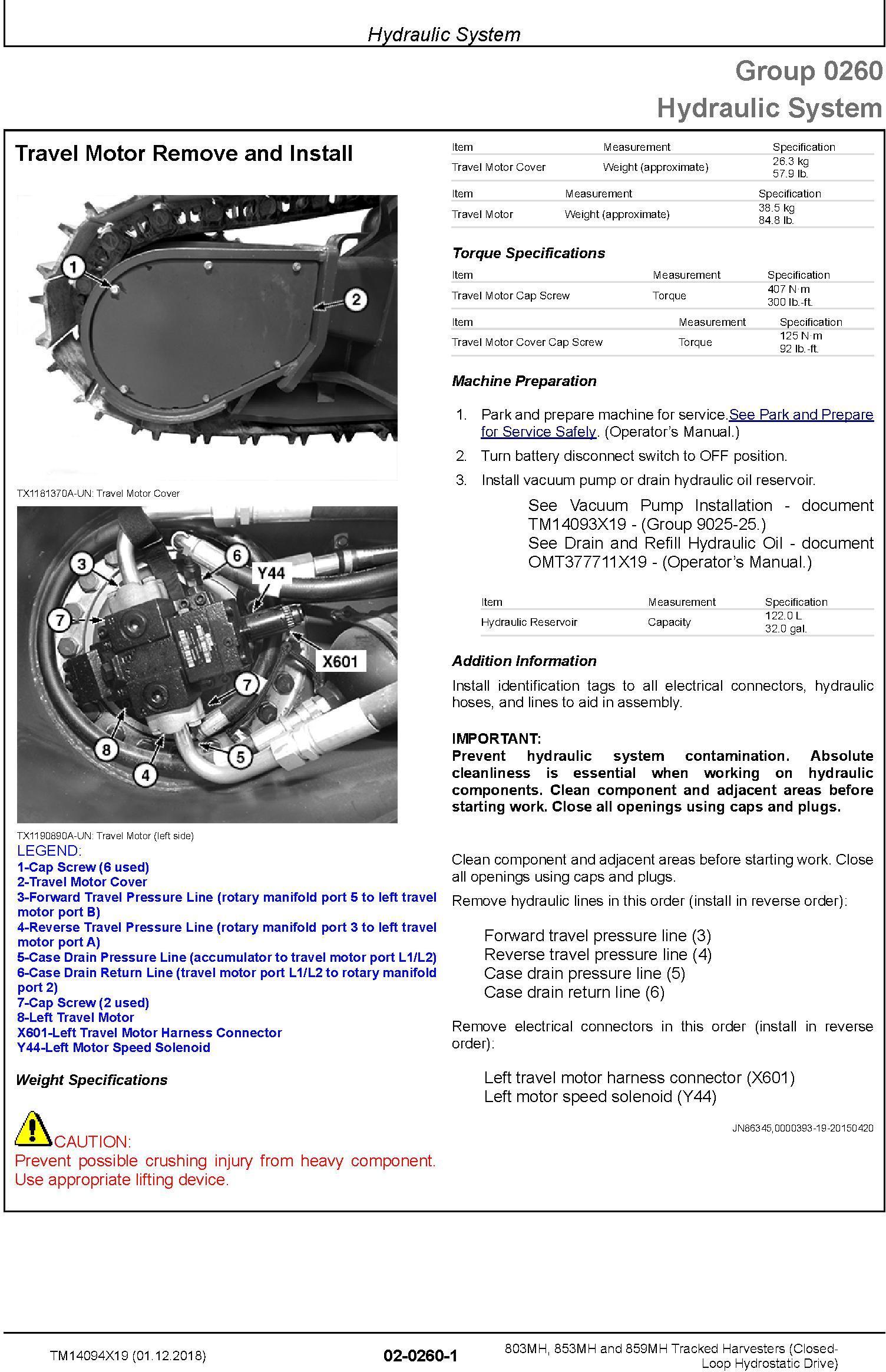 John Deere 803MH,853MH,859MH (SN.F293917-,L343918-) Harvester (Closed-Loop) Repair Manual TM14094X19 - 2