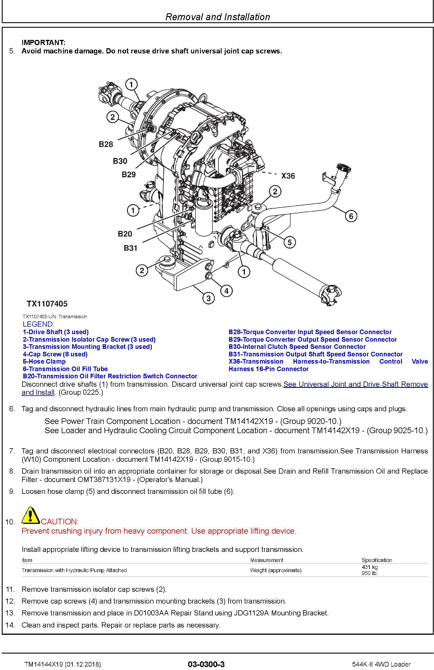 John Deere 544K-II (SN. F677549-) 4WD Loader Repair Technical Service Manual (TM14144X19) - 1