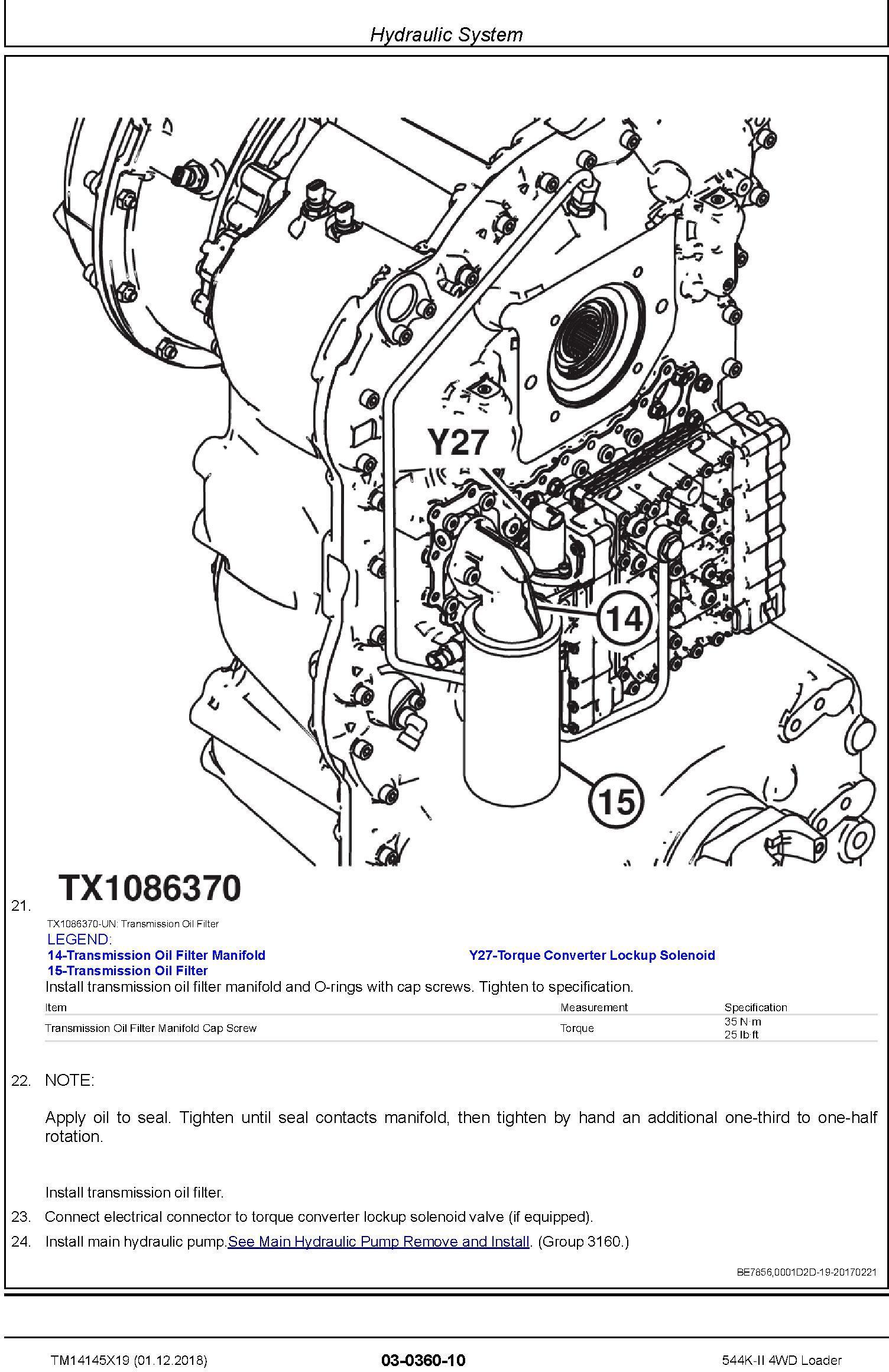 John Deere 544K-II (SN. D677549-) 4WD Loader Repair Technical Service Manual (TM14145X19) - 2