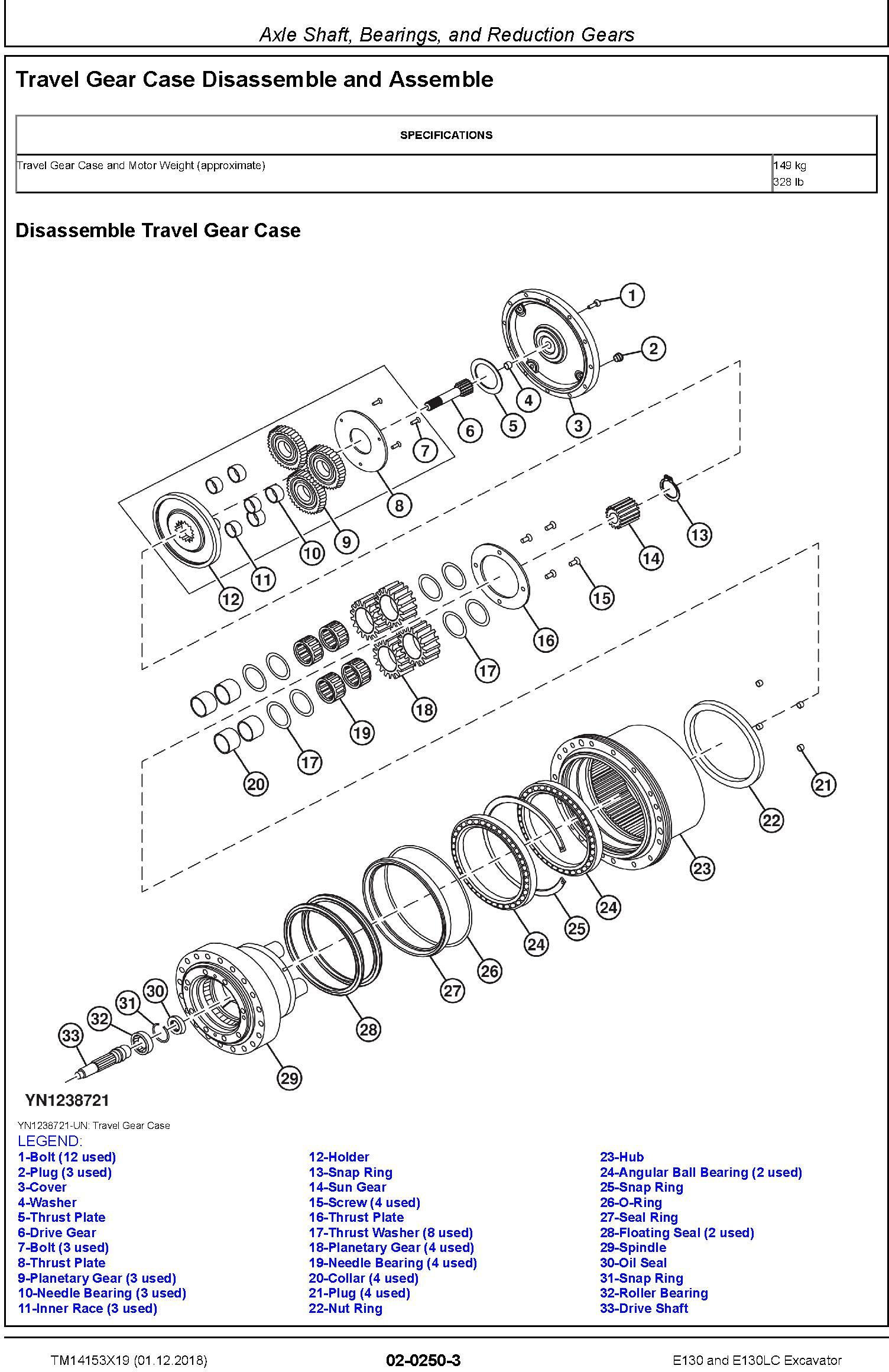 John Deere E130, E130LC (SN.from D300003) Excavator Repair Technical Manual (TM14153X19) - 2