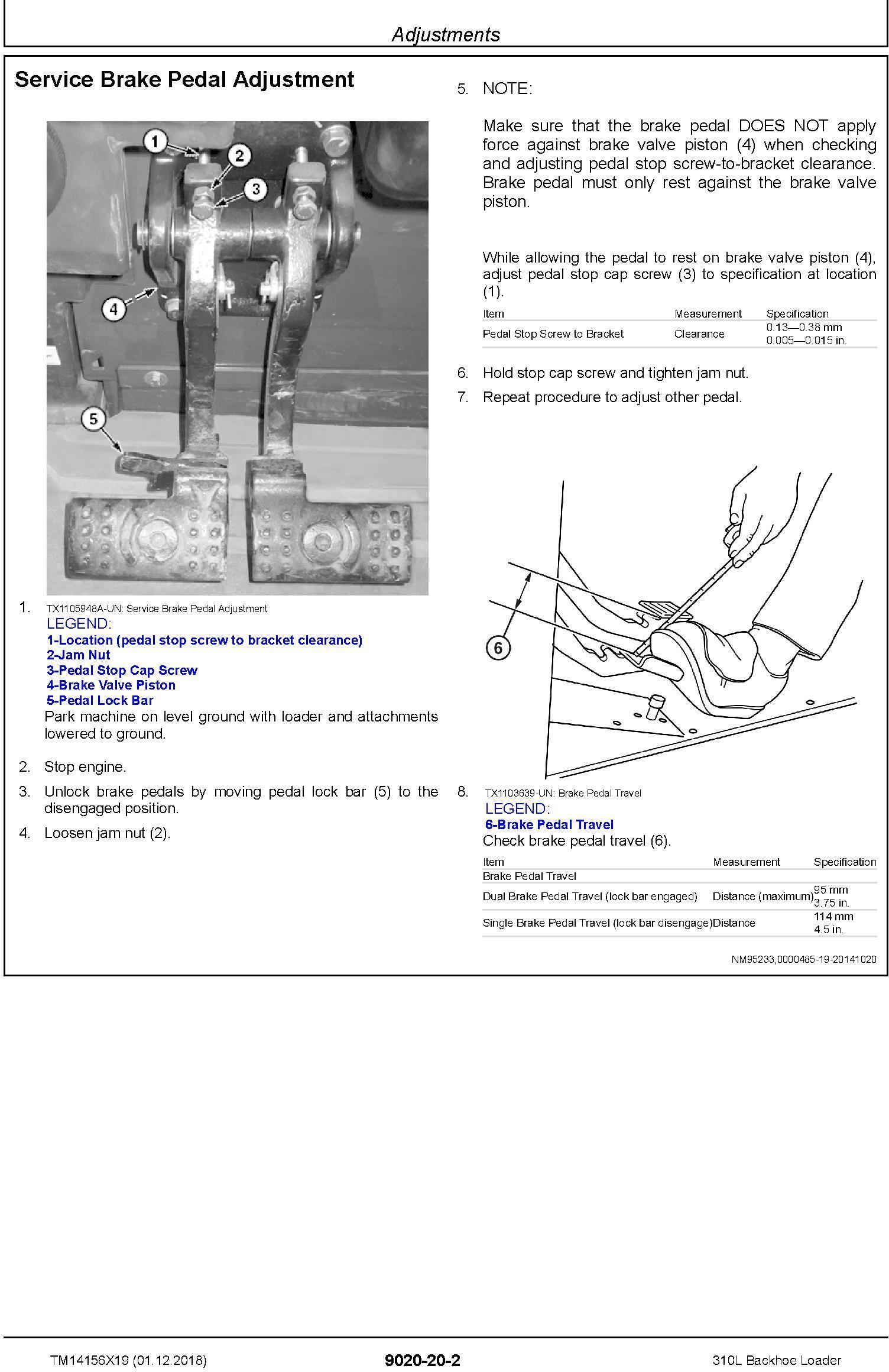 John Deere 310L (SN.C000001-,D000001-) Backhoe Loader Operation & Test Technical Manual (TM14156X19) - 2