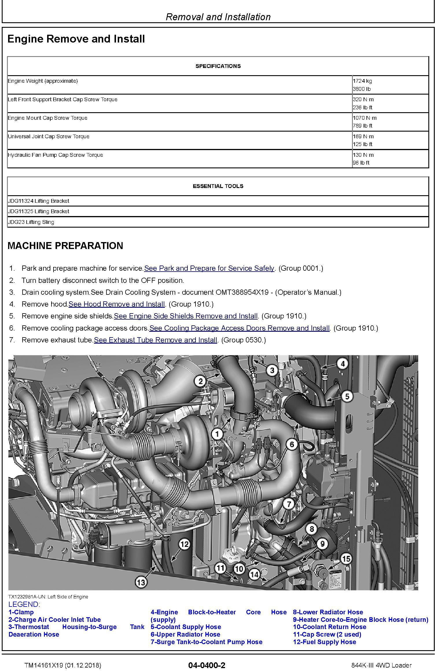 John Deere 844K-III (SN. D677782-) 4WD Loader Repair Technical Service Manual (TM14161X19) - 2