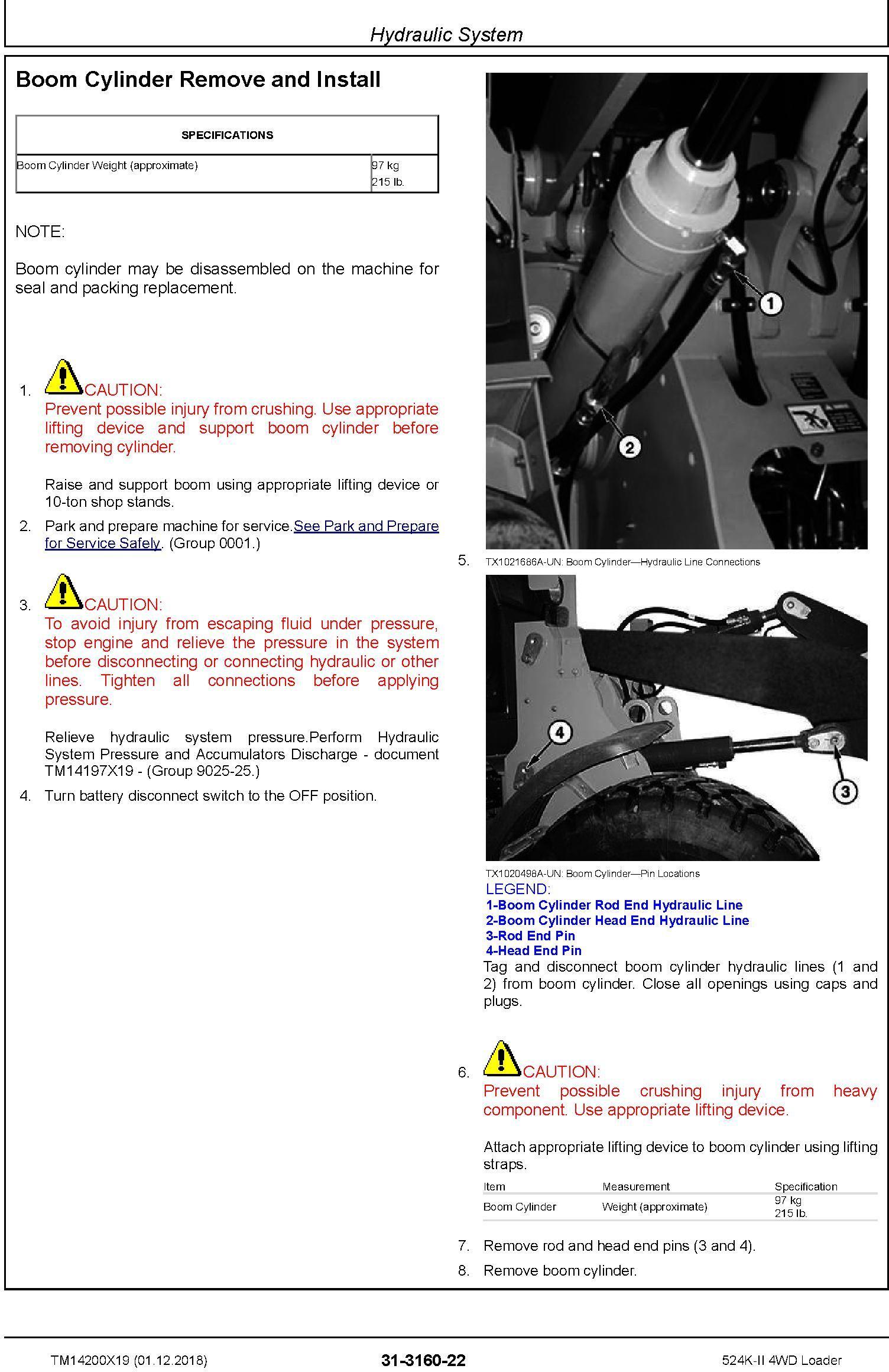 John Deere 524K-II (SN. D001001-) 4WD Loader Repair Technical Service Manual (TM14200X19) - 3