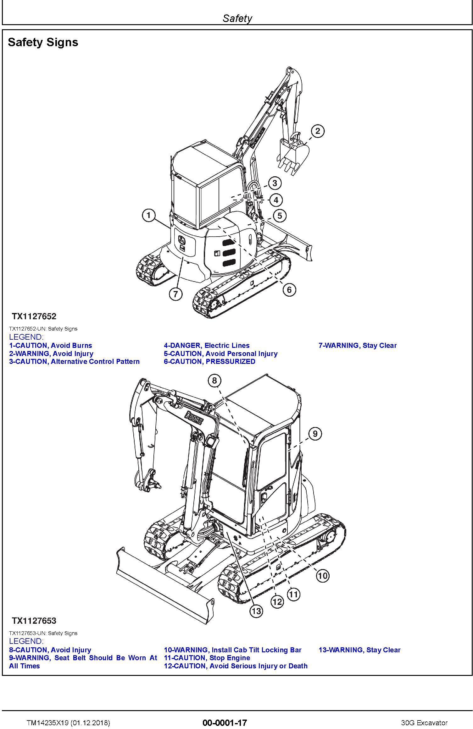John Deere 30G (SN.from K265001) Excavator Service Repair Technical Manual (TM14235X19) - 1