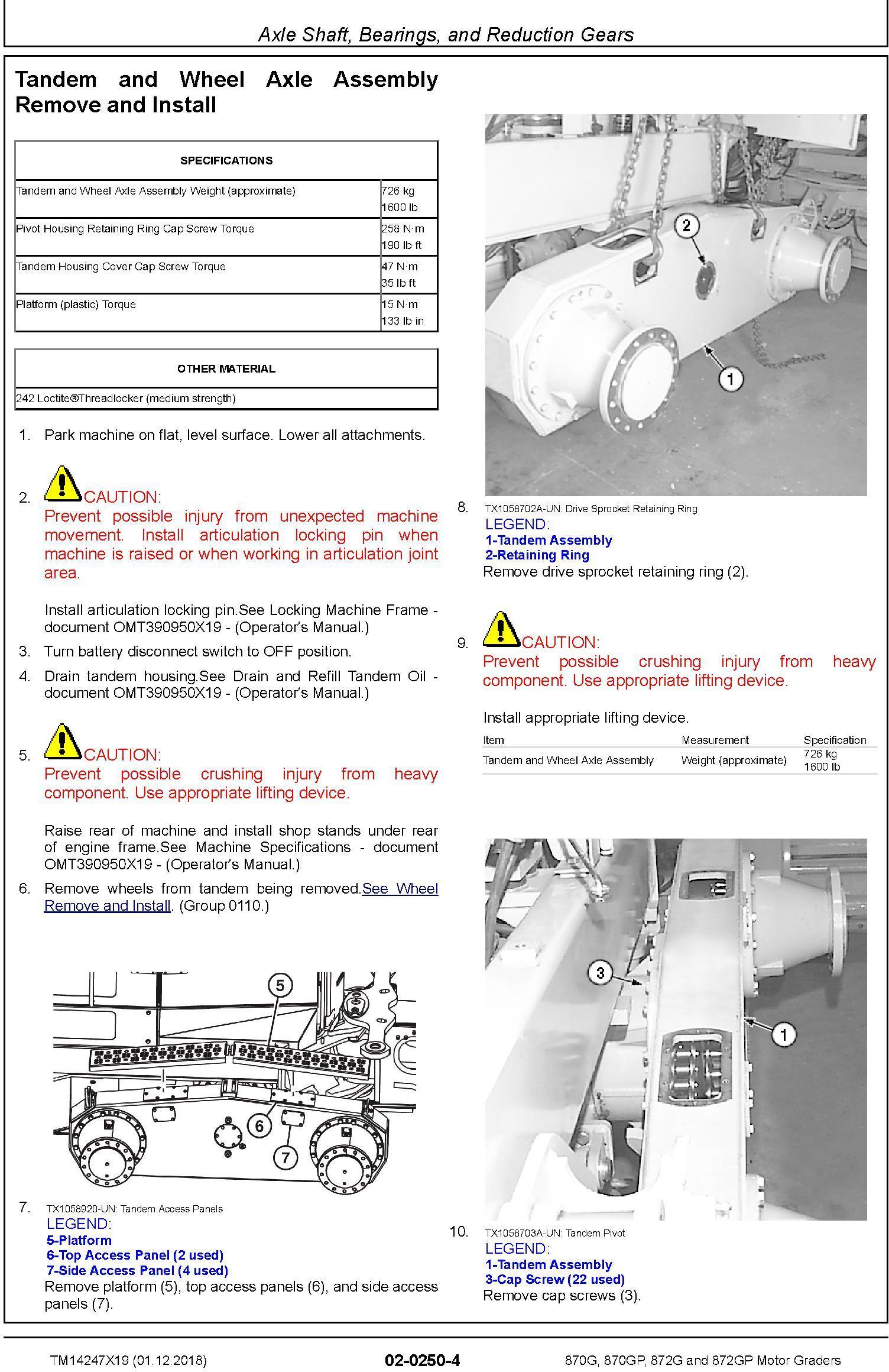 John Deere 870G, 870GP, 872G, 872GP (SN. F680878-,L700954-) Motor Graders Repair Manual (TM14247X19) - 3