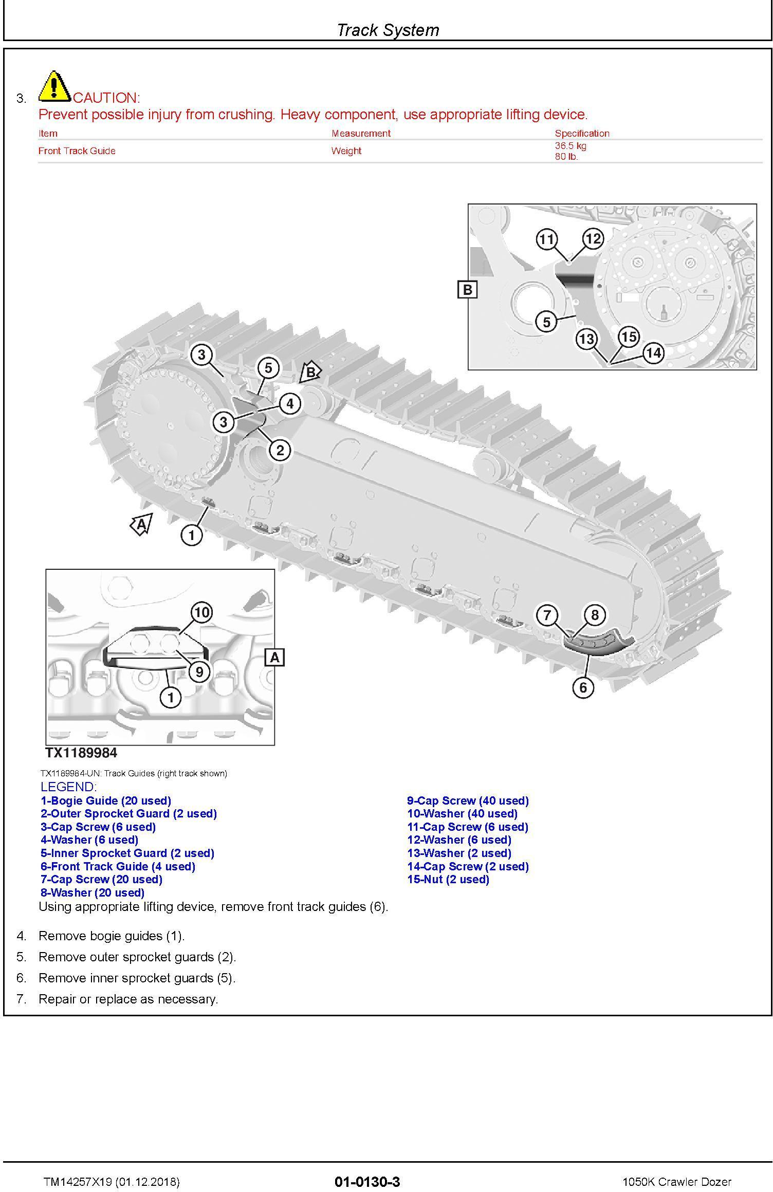 John Deere 1050K (SN. D268234-) Crawler Dozer Repair Technical Service Manual (TM14257X19) - 1