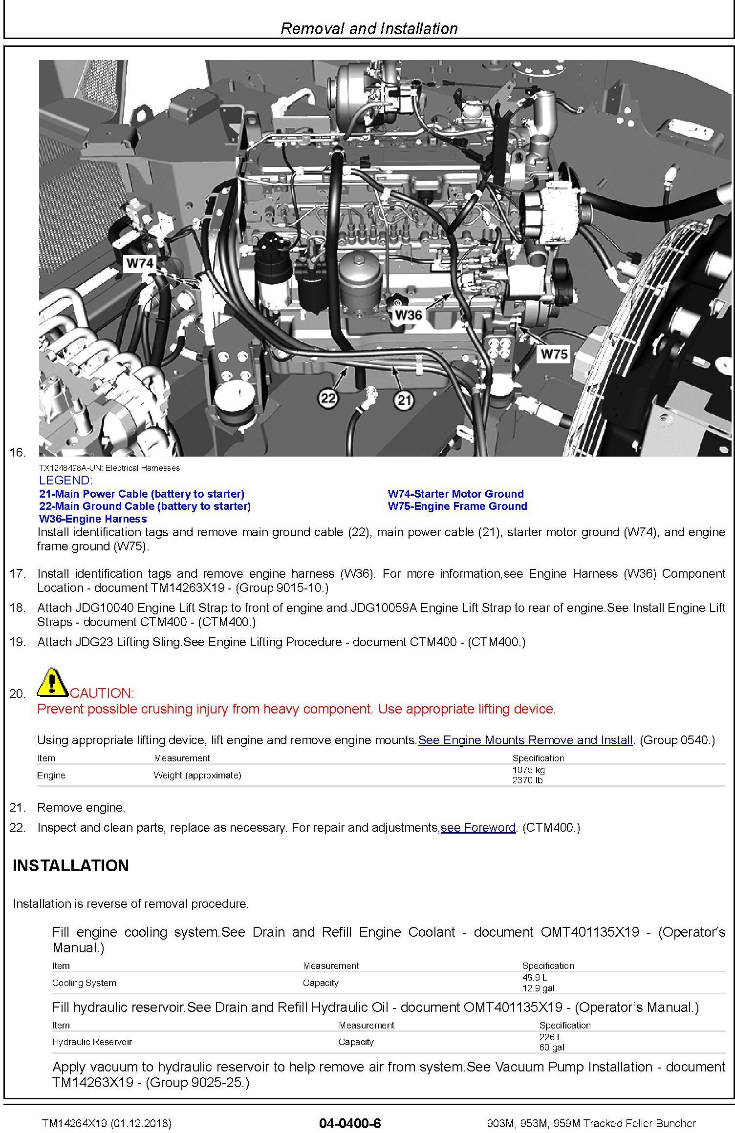John Deere 903M, 953M, 959M (SN.C317982-,D317982-) Tracked Feller Buncher Repair Manual (TM14264X19) - 3