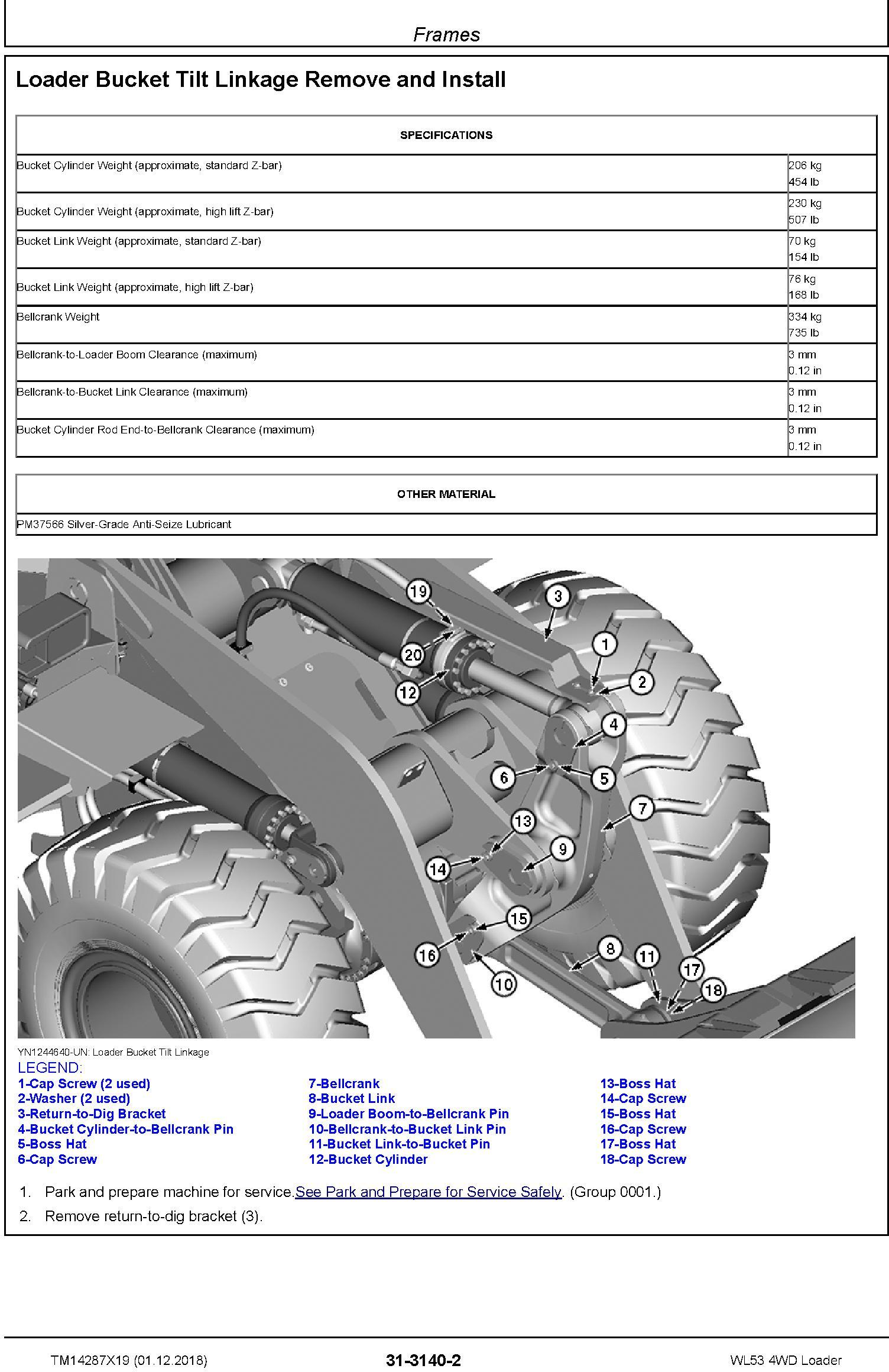 John Deere WL53 (SN. D000001-) 4WD Loader Repair Service Manual (TM14287X19) - 2