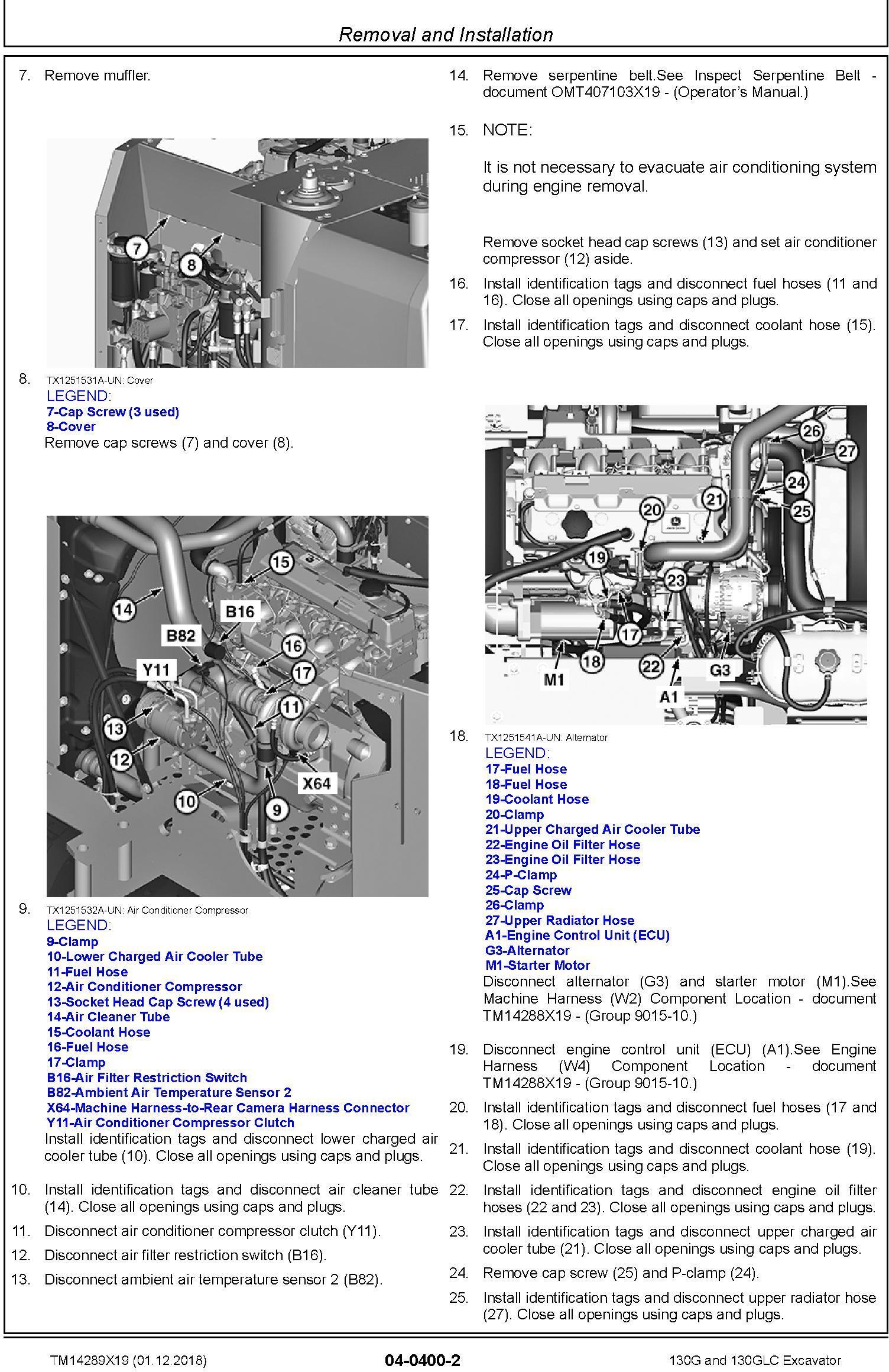 John Deere 130G, 130GLC (SN.from D040001) Excavator Service Repair Technical Manual (TM14289X19) - 2