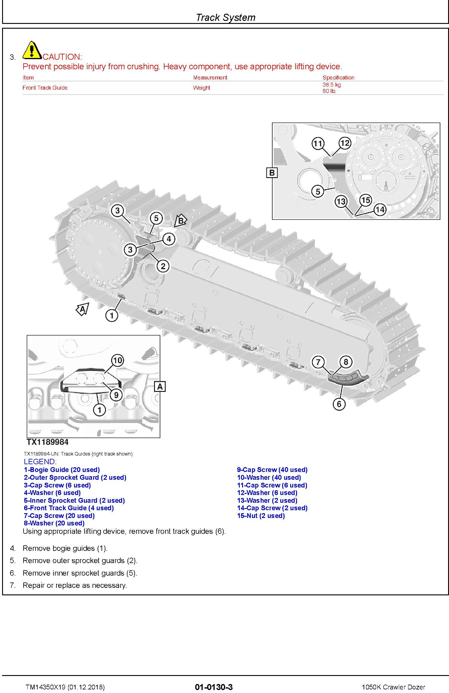 John Deere 1050K (SN. C318802-) Crawler Dozer Service Repair Technical Manual (TM14350X19) - 1