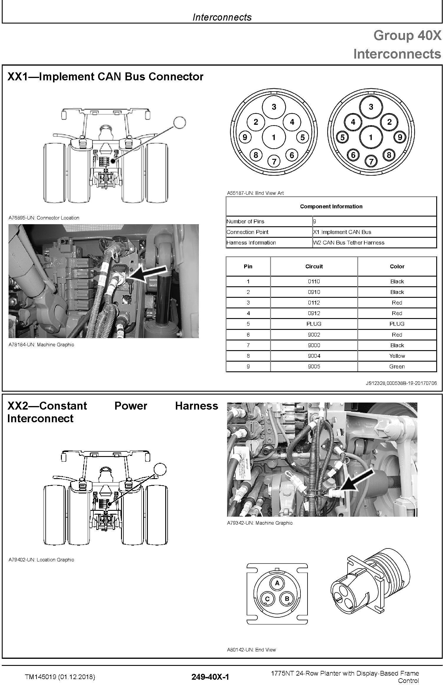 John Deere 1775NT 24row Planter w.Display-Based Frame Control Diagnostic Technical Manual (TM145019) - 1