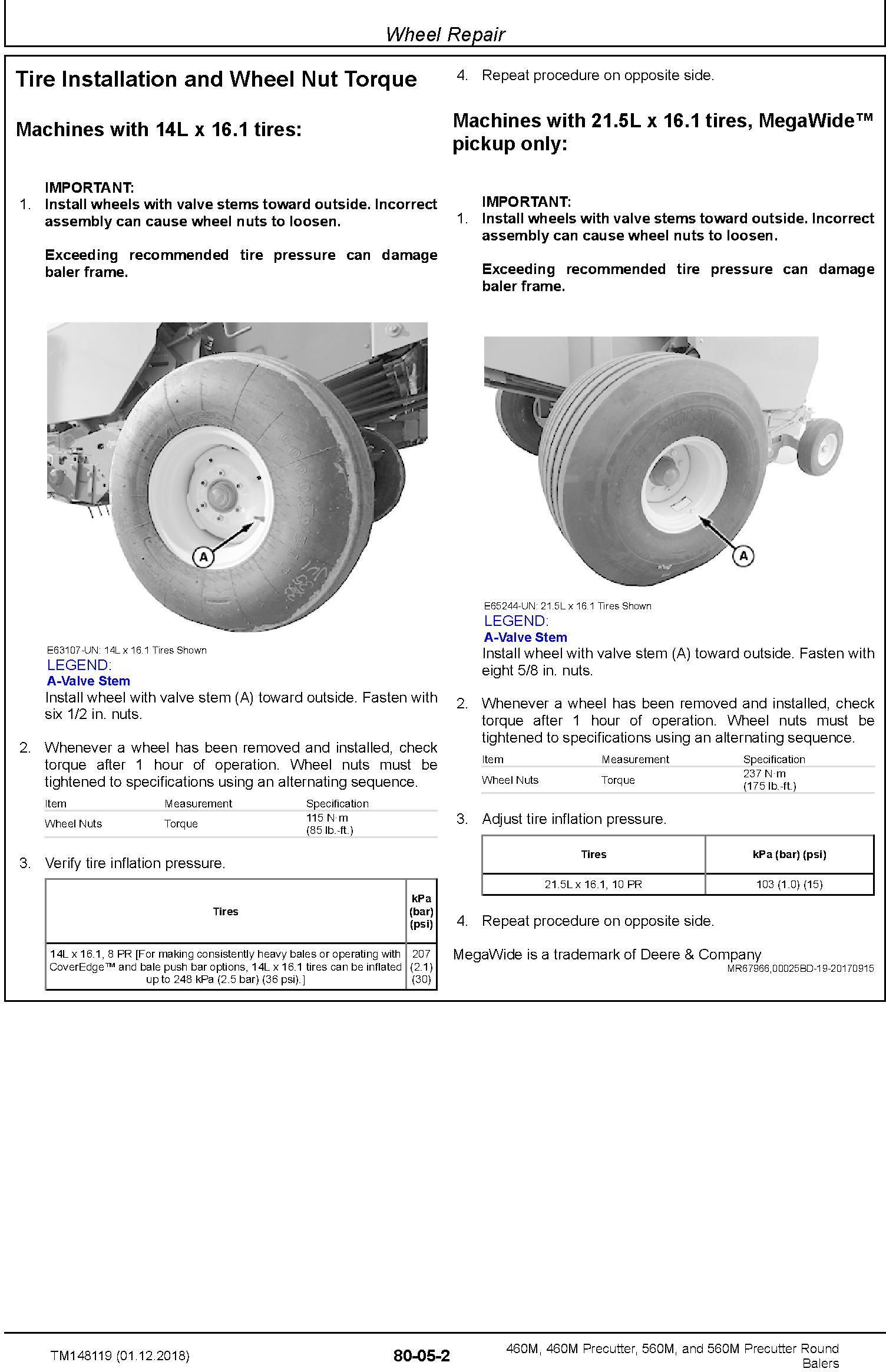 John Deere 460M, 460M Precutter, 560M, and 560M Precutter Round Balers Technical Manual (TM148119) - 2