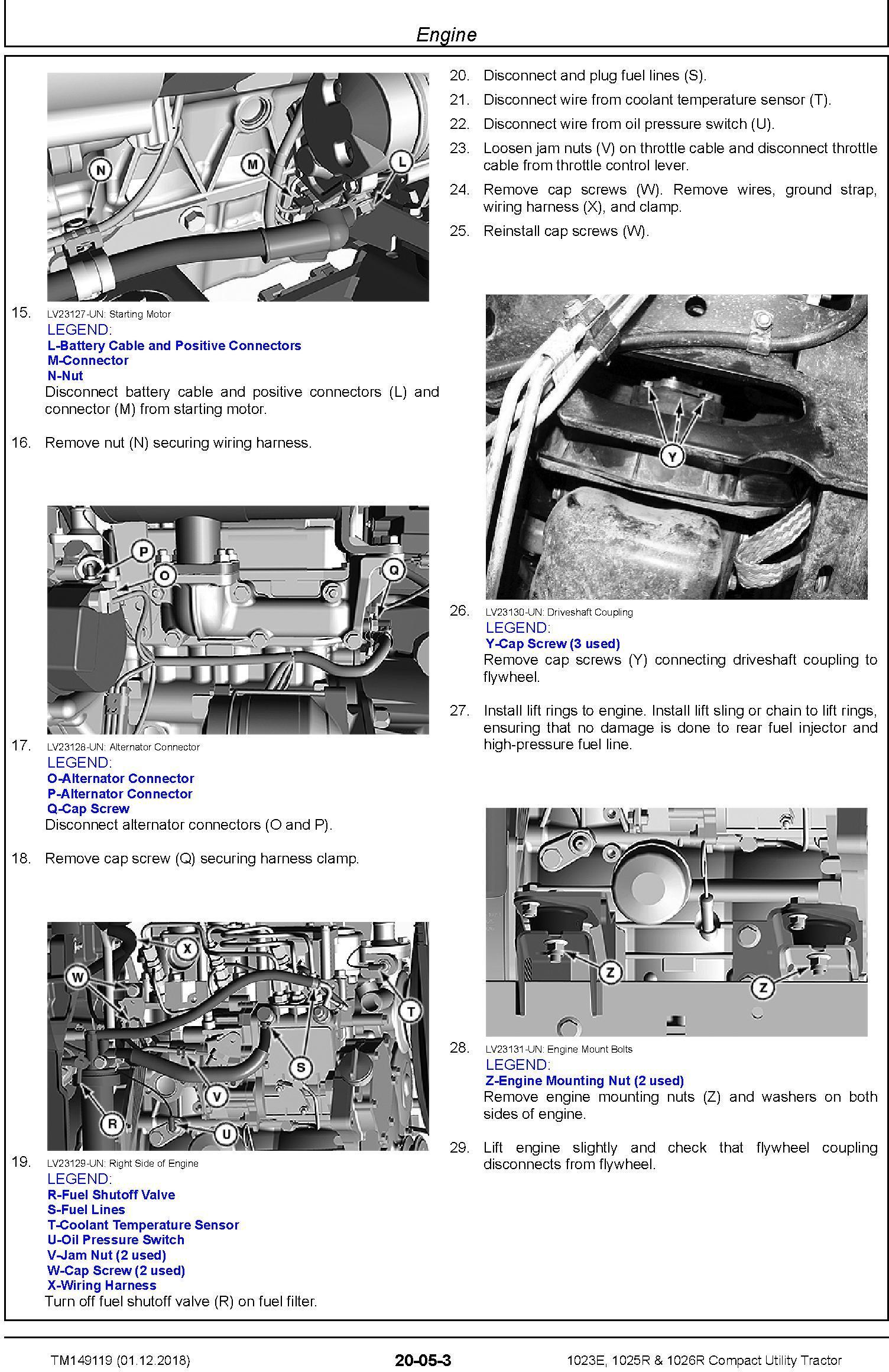 John Deere 1023E, 1025R, 1026R Compact Utility Tractor (SN. HJ0100001- ) Technical Manual (TM149119) - 1