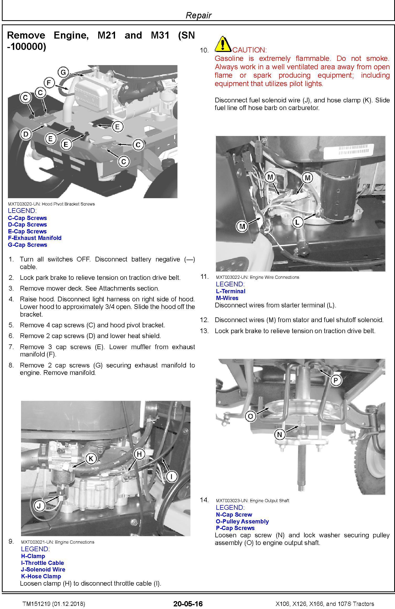 John Deere X106, X126, X166, and 107S Tractors (SN. 010001-) Technical Service Manual (TM151219) - 1