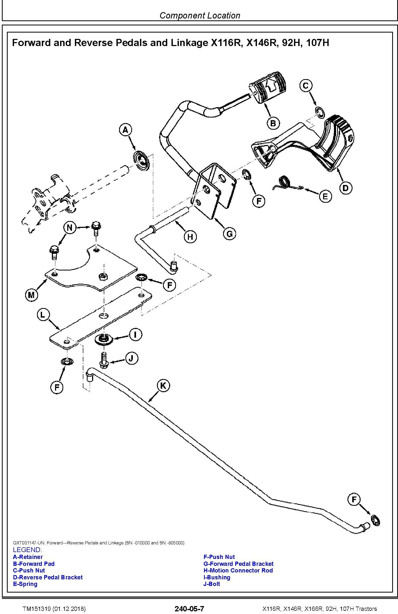 John Deere X116R, X146R, X166R, 92H, 107H Tractors (SN. 010001-) Technical Service Manual (TM151319) - 2