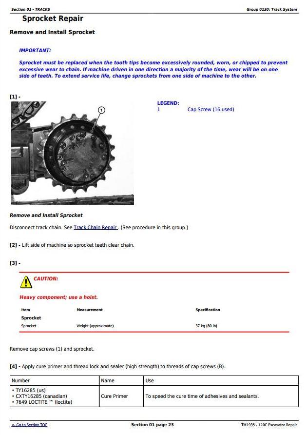 TM1935 - John Deere 120C Excavator Service Repair Manual - 1