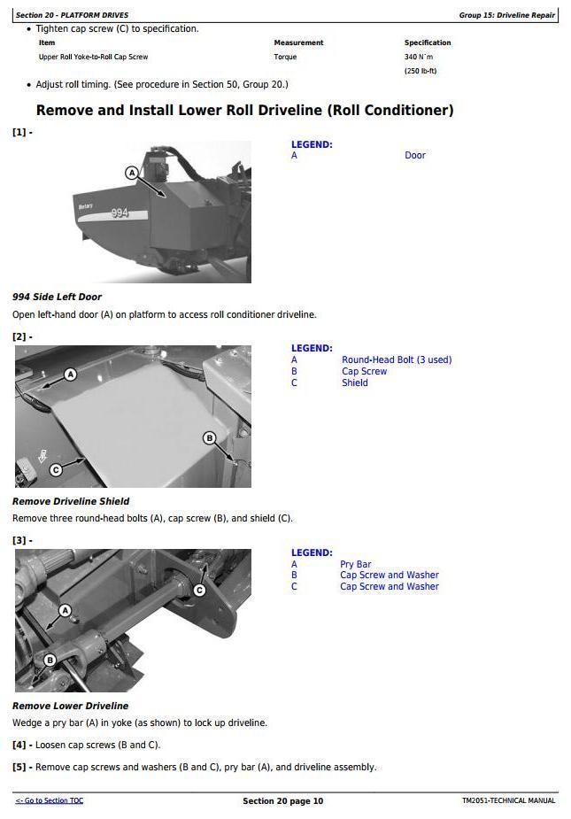 TM2051 - John Deere 994 (4, 4.5 Meter) Hay&Forage Rotary Platform Diagnostic&Repair Technical Manual - 1