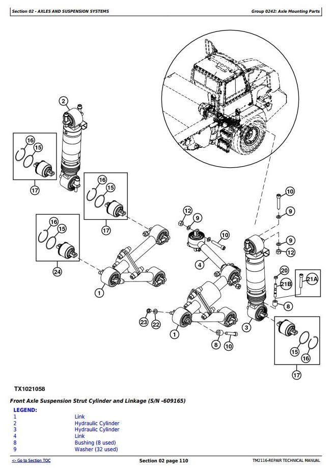 TM2116 - John Deere 250D, 300D Truck Articulated Dump XXXXXX-609165 Repair Technical Manual - 2