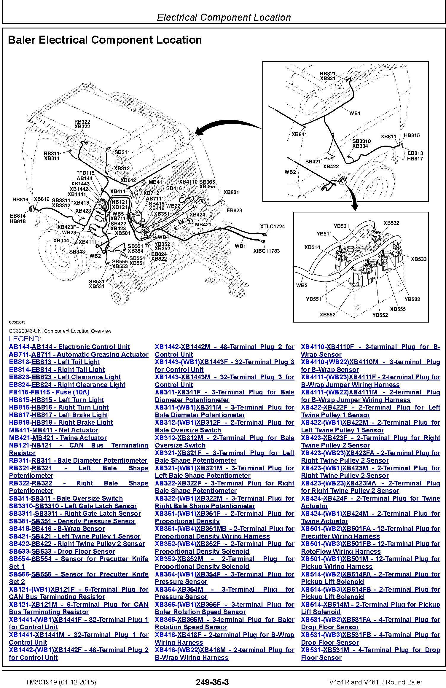 John Deere V451R and V461R Round Baler Diagnostic Technical Manual (TM301919) - 1