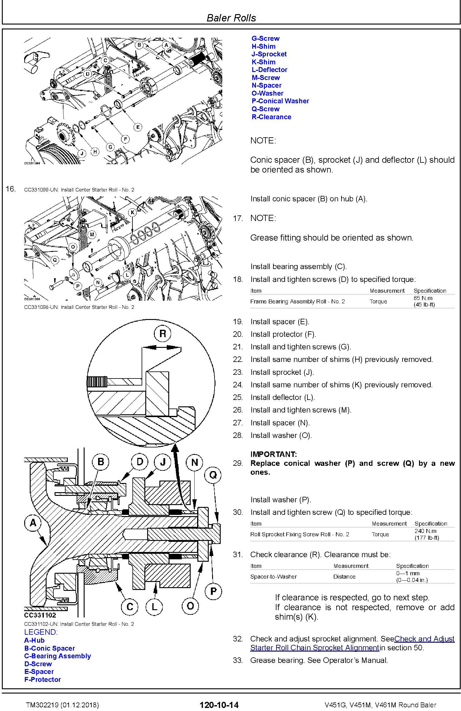 John Deere V451G, V451M, V461M Round Baler Service Repair Technical Manual (TM302219) - 3
