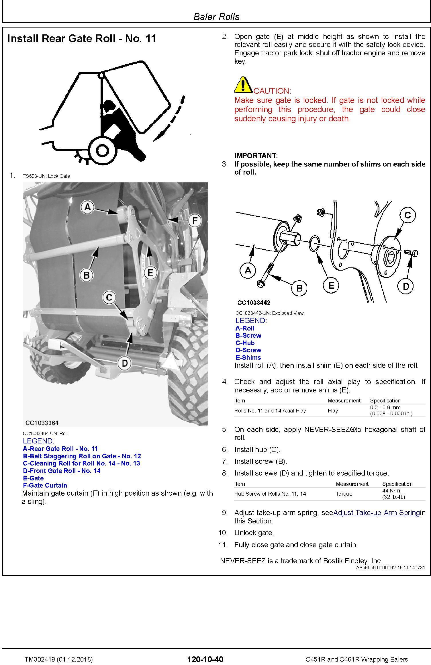 John Deere C451R and C461R Wrapping Balers Service Repair Technical Manual (TM302419) - 3