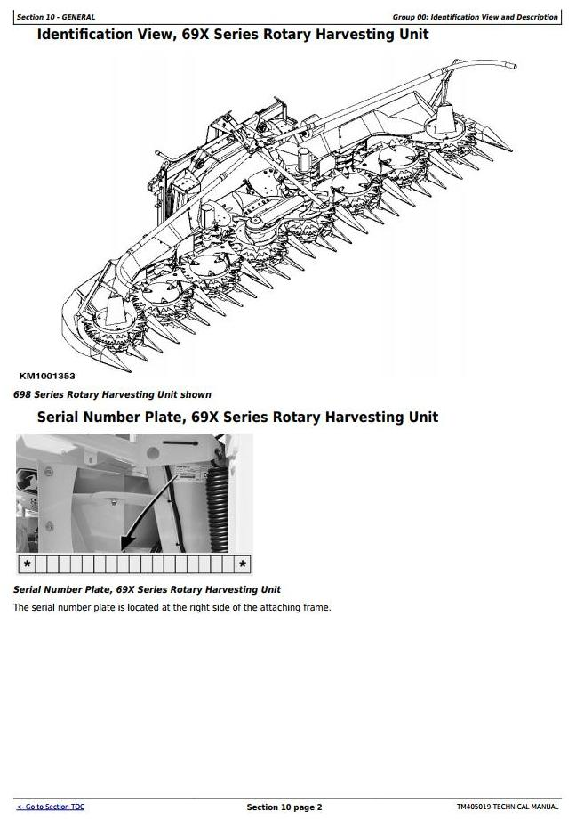 TM405019 - John Deere 690, 692, 696, 698 Rotary Harvesting Unit Diagnostic & Repair Technical Manual - 1