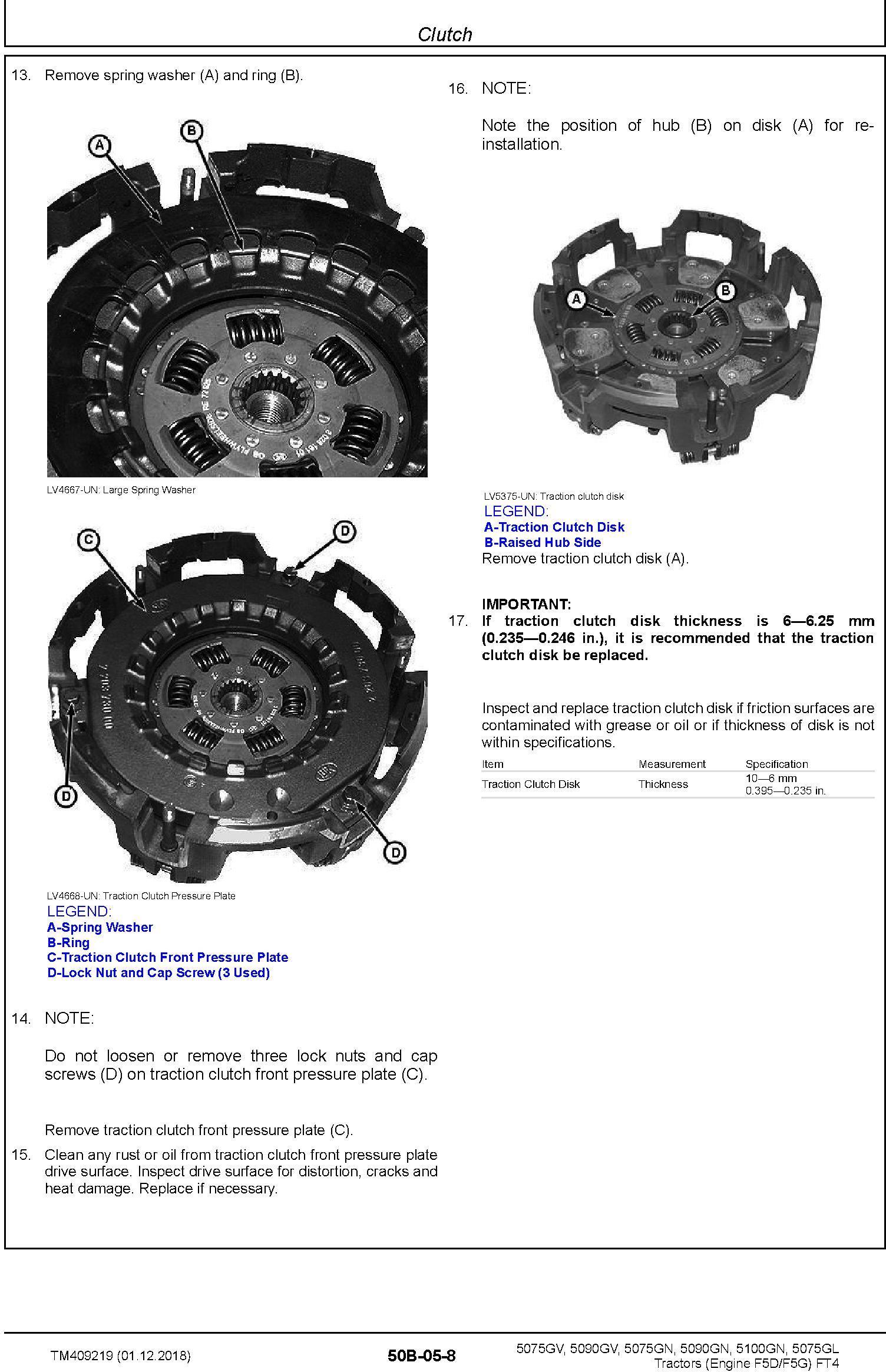 John Deere 5075GL,5075GV, 5075GN, 5090GV,5090GN, 5100GN MY2016-19 Tractors Repair Manual (TM409219) - 2