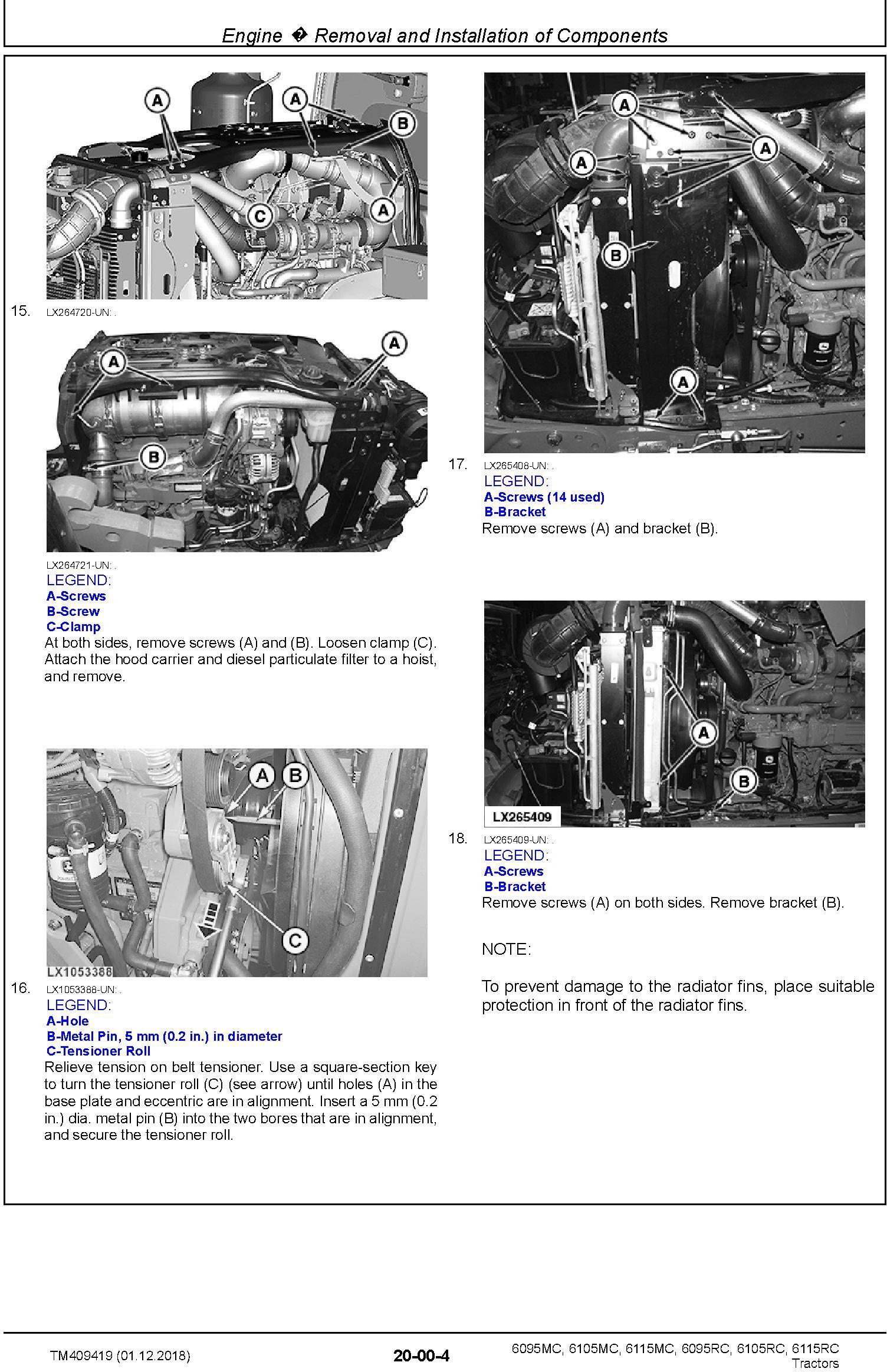 John Deere 6095MC,6105MC, 6115MC, 6095RC, 6105RC, 6115RC Tractors MY2016-17 Repair Manual (TM409419) - 1