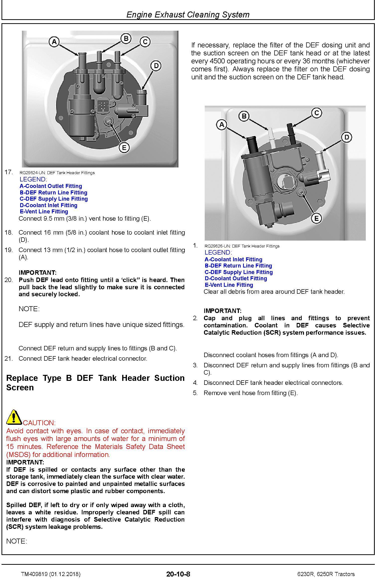 John Deere 6230R, 6250R Tractors MY2017,18,19 Service Repair Technical Manual (TM409819) - 2