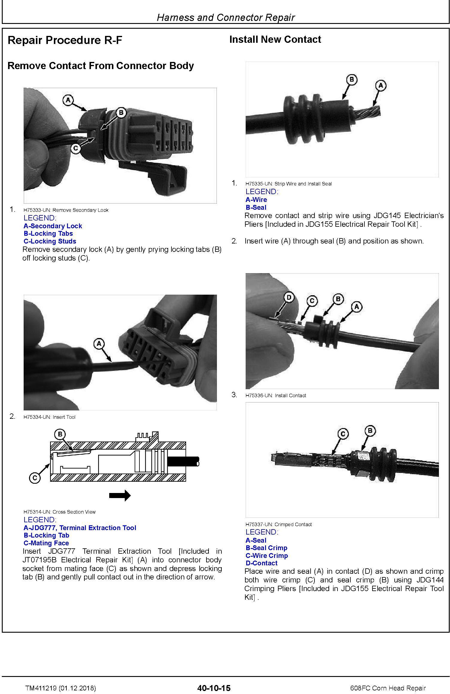 John Deere 608FC Corn Head Repair Technical Manual (TM411219) - 1