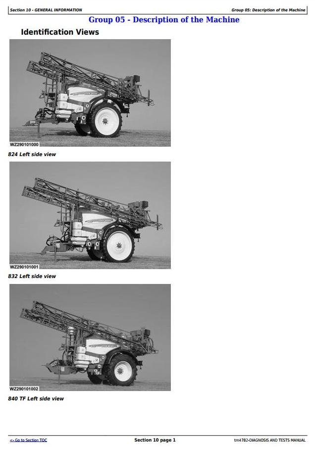 TM4782 - John Deere 824, 832, 840 Trailed Sprayers w.ELC-1/EHC-2/EL-4 unit Diagnostic Service Manual - 1