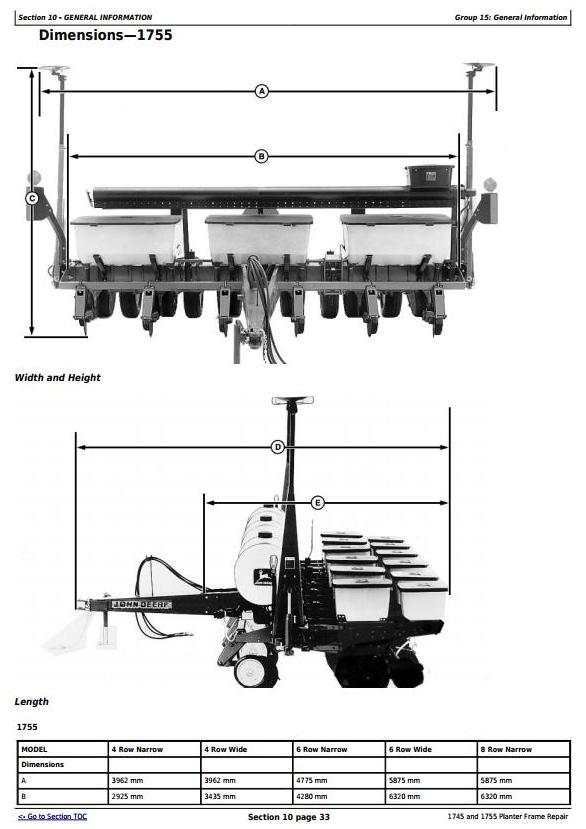 TM609219 - John Deere 1745 and 1755 Planters Frame Service Repair Technical manual - 3