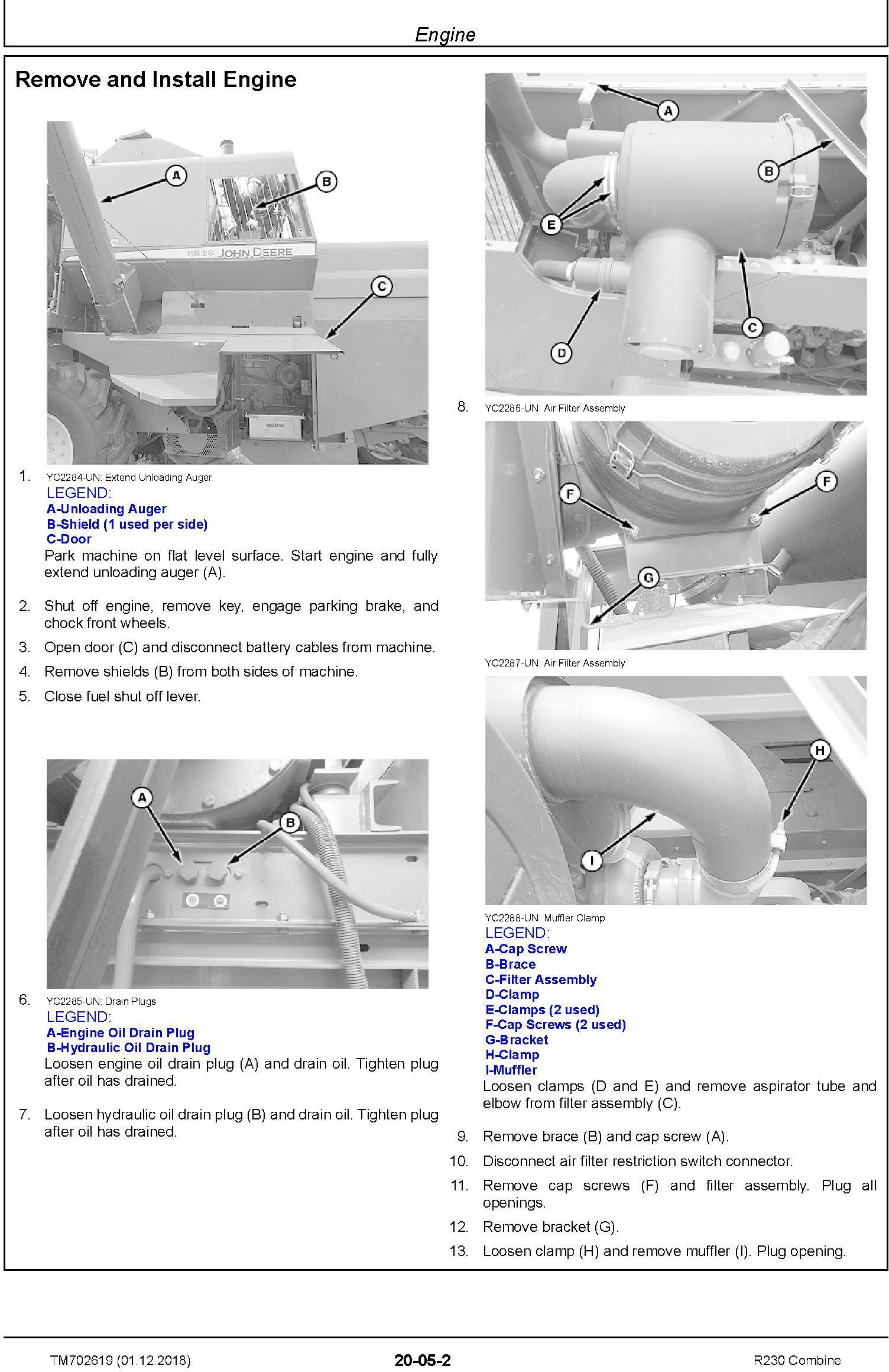 John Deere R230 Combine Technical Service Manual (TM702619) - 1
