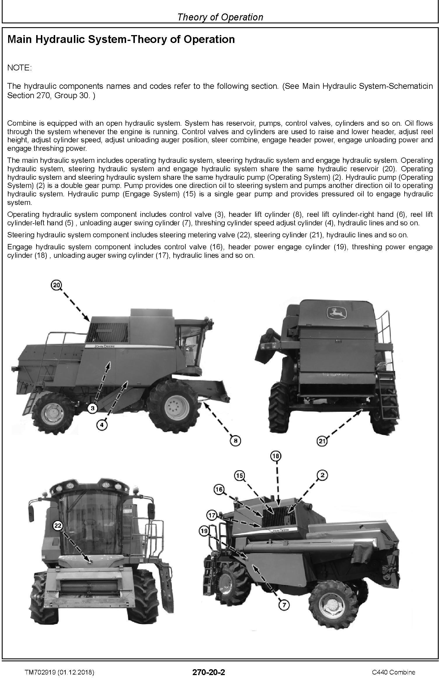 John Deere C440 Combine (SN. 020000-) Technical Service Manual (TM702919) - 1