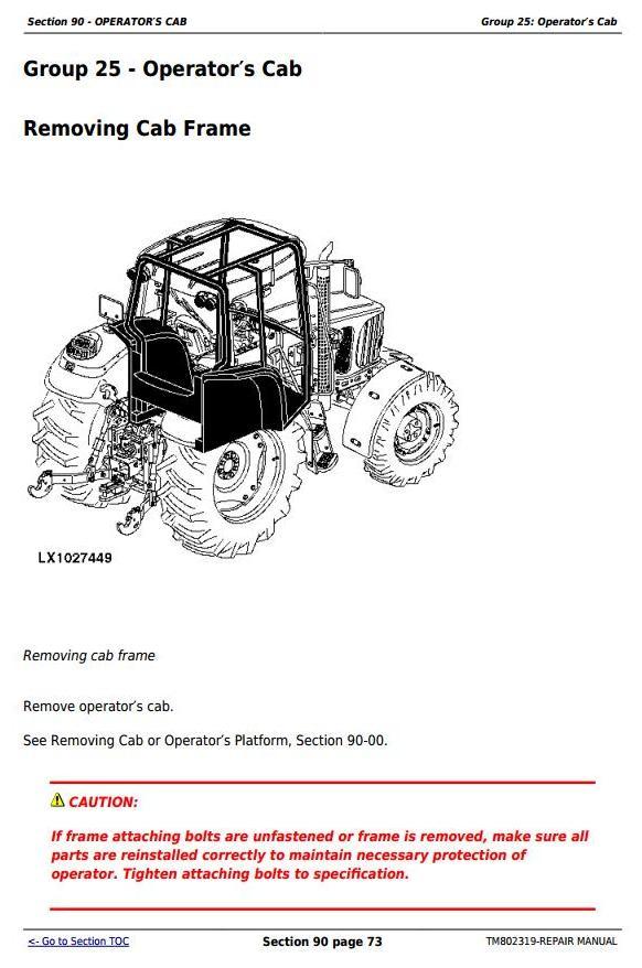 TM802319 - John Deere 1654, 1854, 2054, 2104, 6165J, 6185J, 6205J, 6210J China Tractors Repair Manual - 1