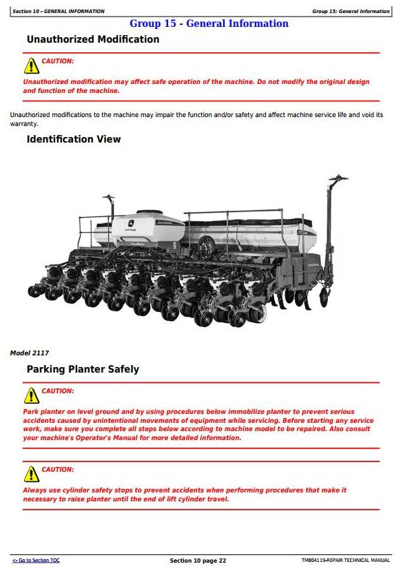 TM804119 - John Deere 2109, 2111, 2113, 2115, 2117, 2122, 2126, 2130,2134 Meter Planters Repair Manual - 3