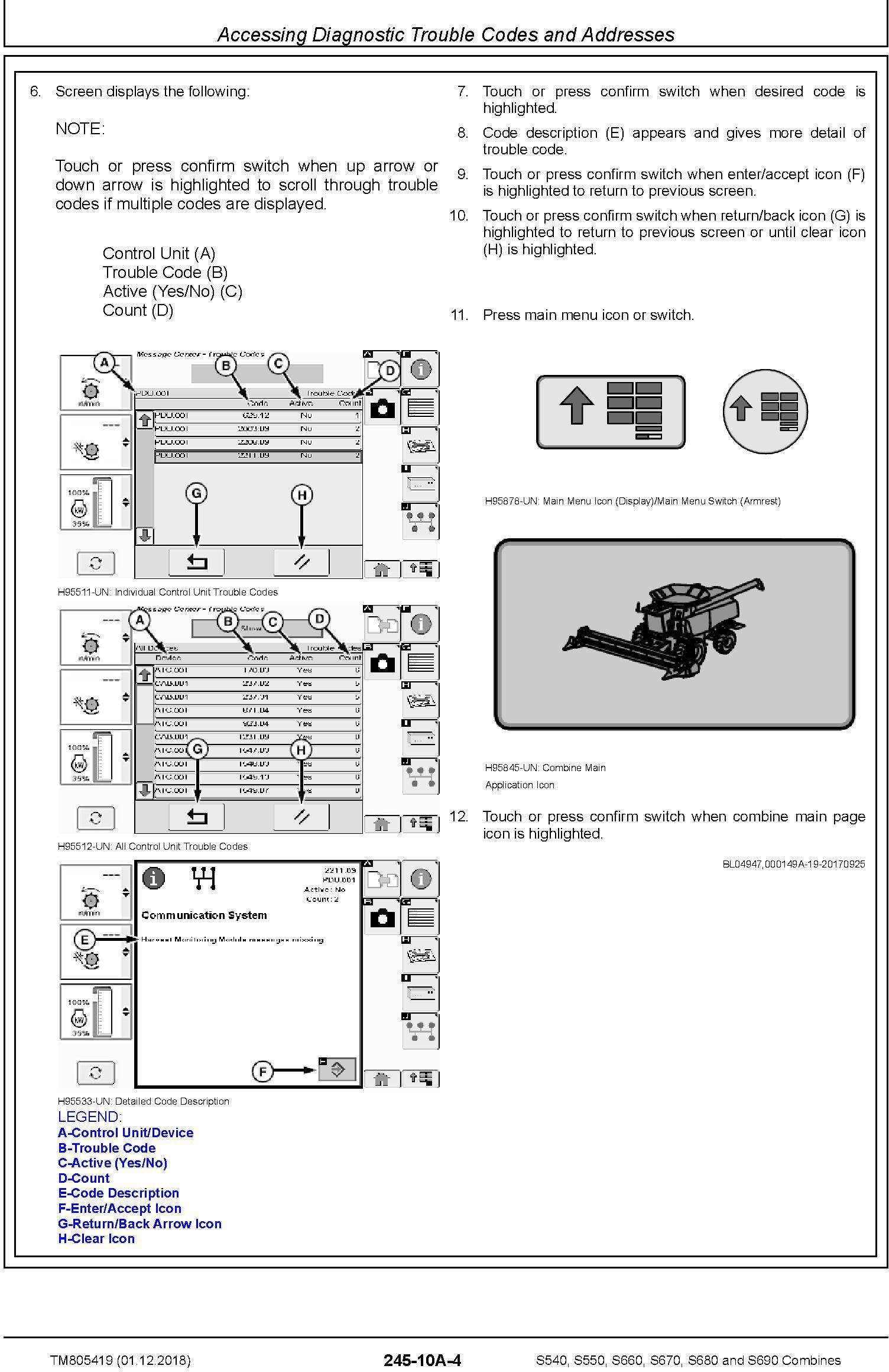 John Deere S540, S550, S660, S670, S680, S690 Combines (SN.120100-) Diagnostic Manual (TM805419) - 3