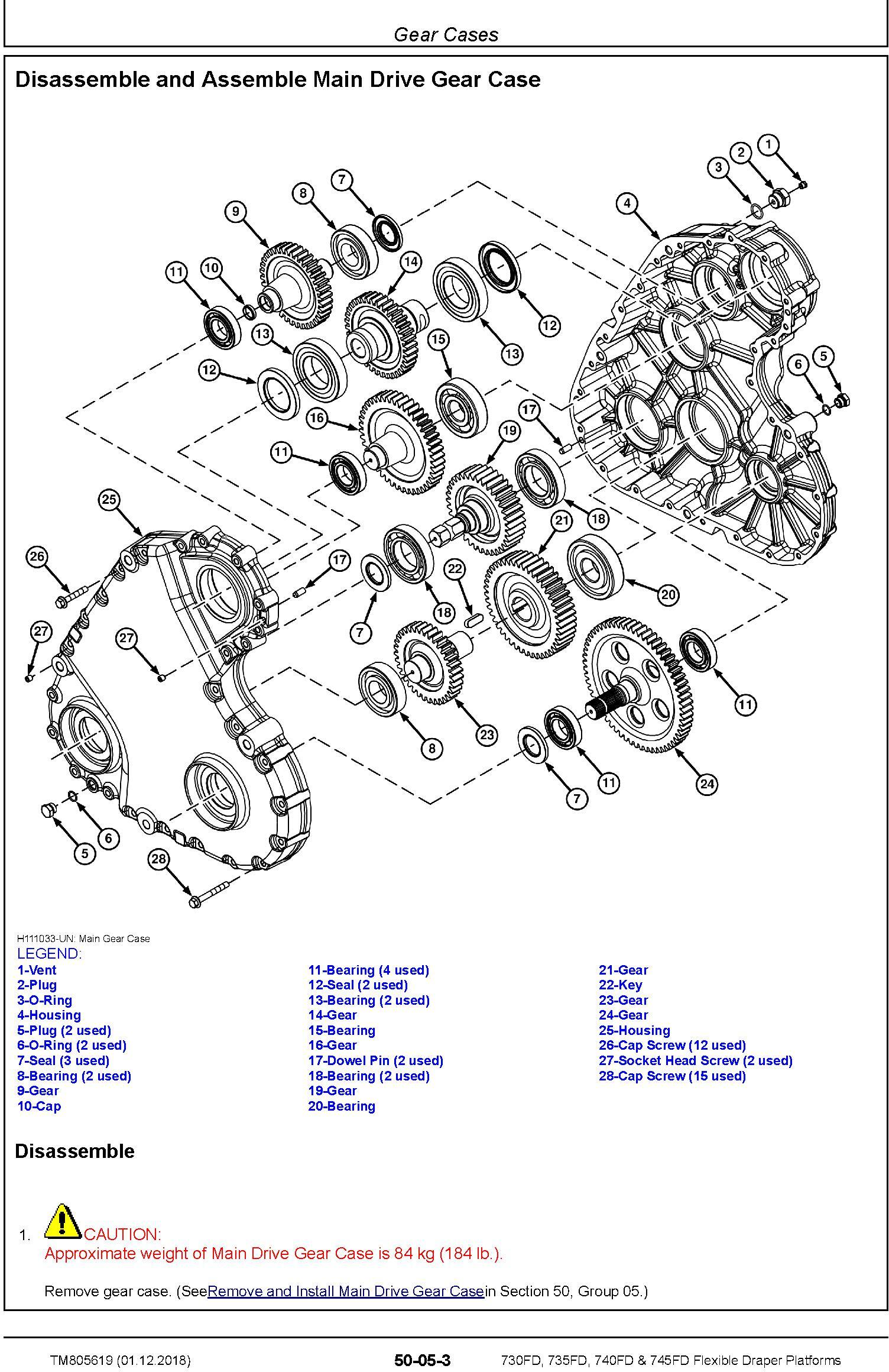 John Deere 730FD, 735FD, 740FD & 745FD Flexible Draper Platforms Repair Technical Manual (TM805619) - 1