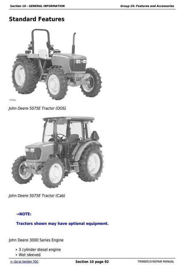 TM900919 - John Deere Tractors 5055E, 5065, 5075E (North America) Service Repair Technical Manual - 2
