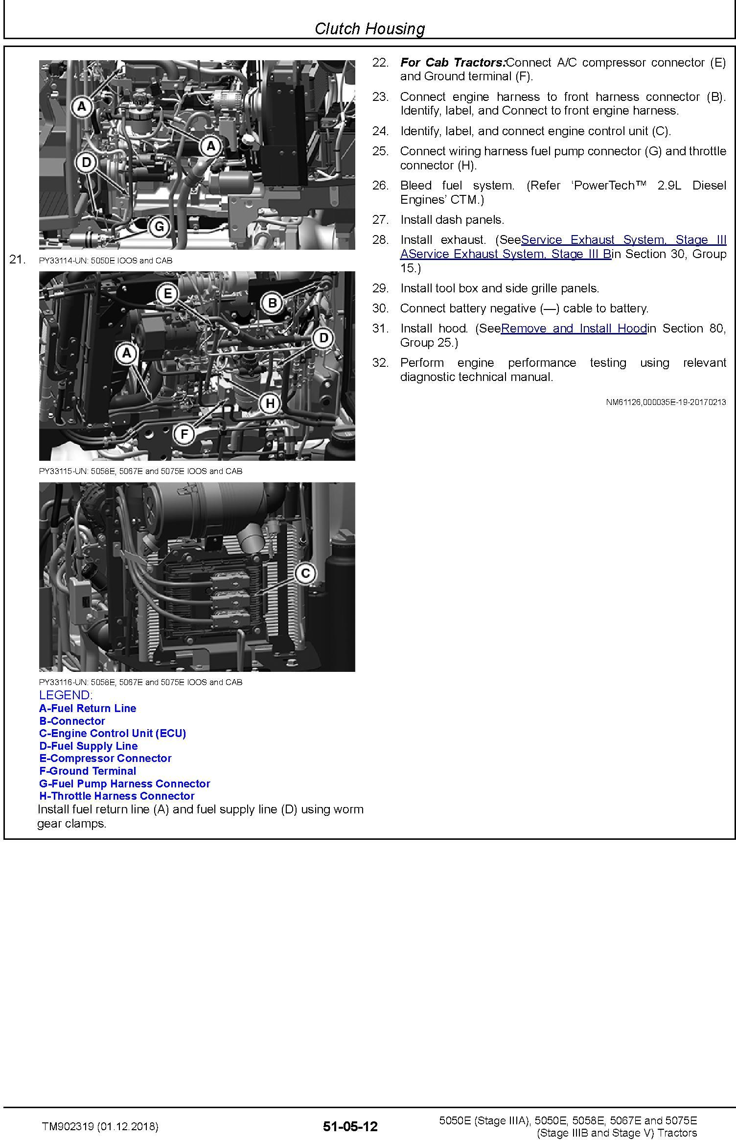 John Deere 5050E, 5050E, 5058E, 5067E, 5075E Tractors Service Repair Technical Manual (TM902319) - 1