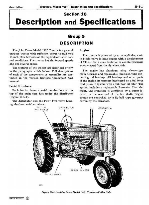 SM2010 - John Deere Service Manual for Model 50, 520, 530 Series Tractors - 1