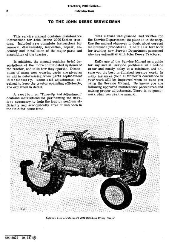 SM2035 - John Deere 2010 Row-Crop, RC Utility, Hi-Crop Tractors Technical Service Manual - 1