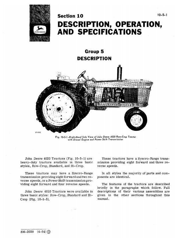 SM2039 - John Deere 4010, 4020 Tractors Service Technical Manual - 1