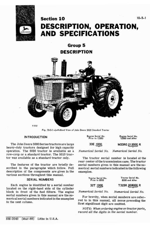 SM2040 - John Deere 5010, 5020 Tractors Diagnostic and Repair Technical Service Manual - 1