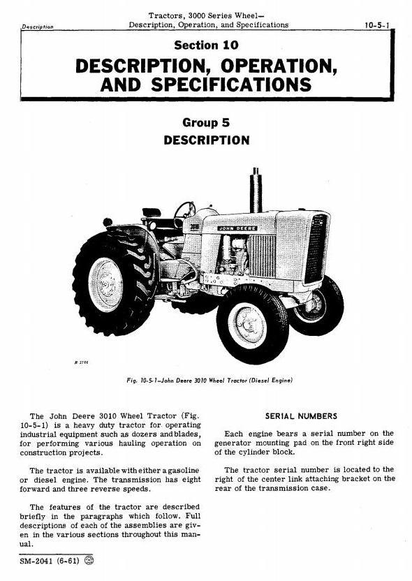 SM2041 - John Deere 3010 Wheel Tractors Technical Service Manual - 1